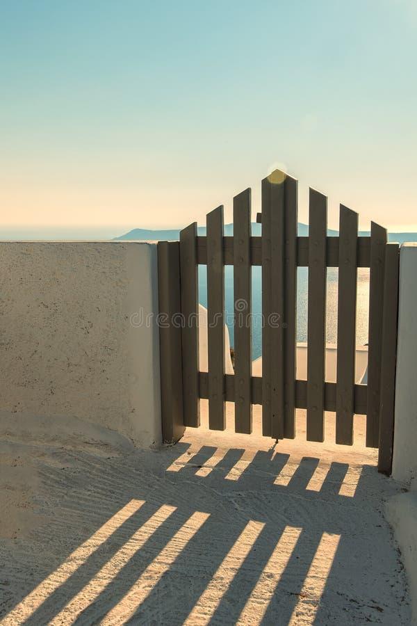 Wooden gate on Santorini stock photo