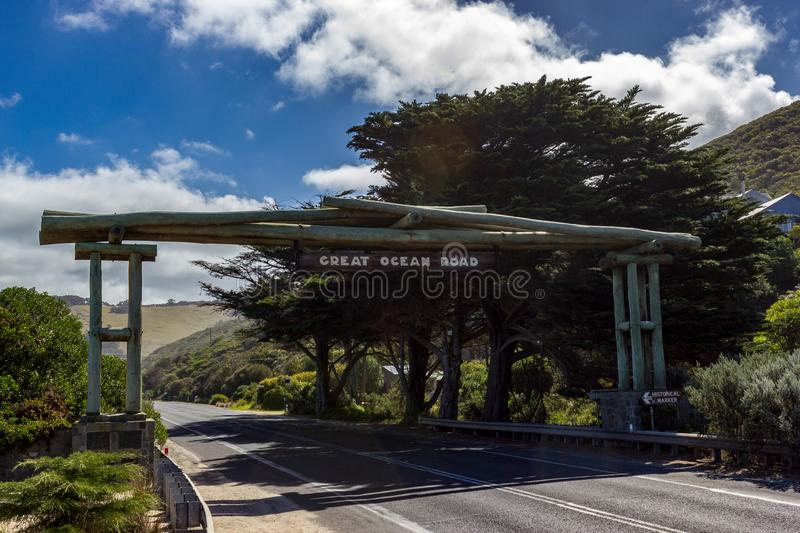 Wooden gate and street sign of the Great Ocean Road near Lorne, Victoria stock photos