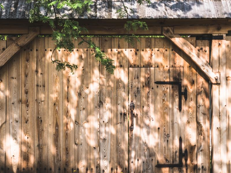 Wooden gate to the farm stock photography