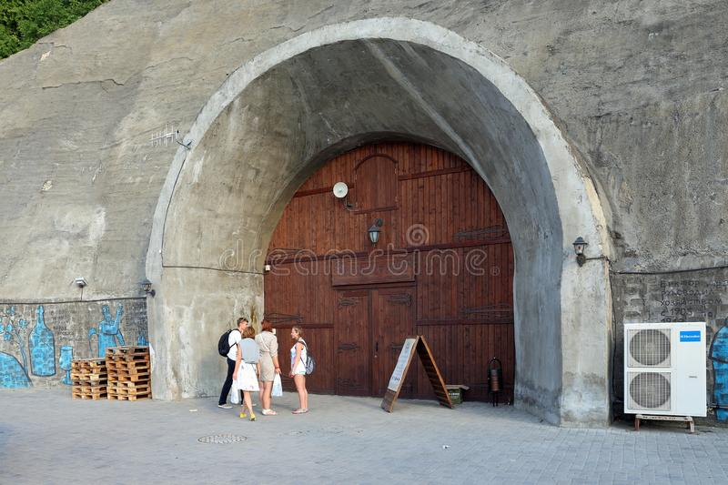 Wooden gate of wine shop Grotto and warehouses in the village of Abrau Durso in the vicinity of Novorossiysk stock photos