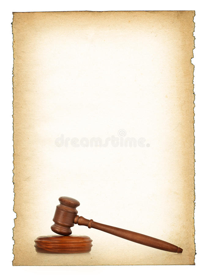 Download Wooden Gavel Against Old Dirty Paper Background Stock Image - Image: 12786259