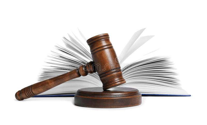 Wooden gavel and book on white background. Law concept stock photos