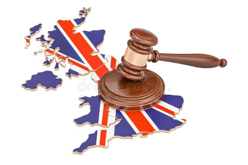 Wooden Gavel on map of United Kingdom, 3D rendering royalty free illustration