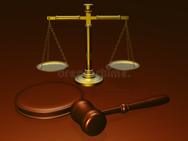 Wooden gavel and scales from the court stock illustration