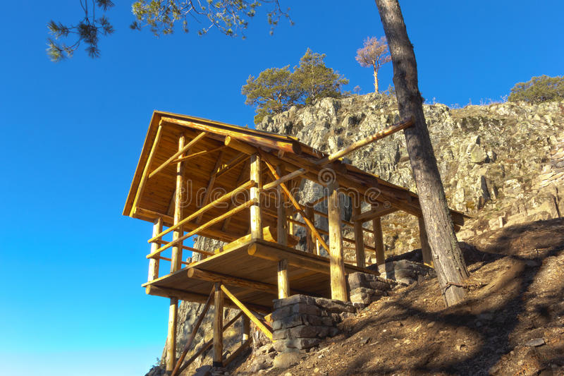Download Wooden Gazebo In The Mountains Stock Image - Image: 36700145