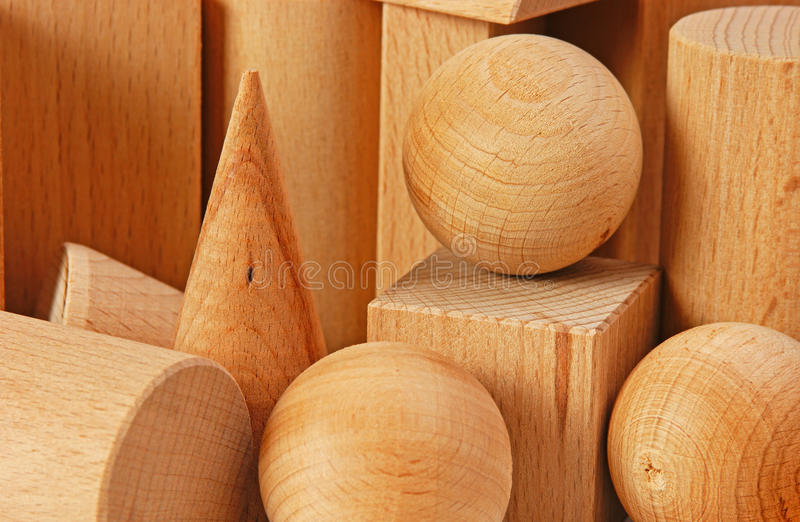 Wooden geometric shapes stock photo