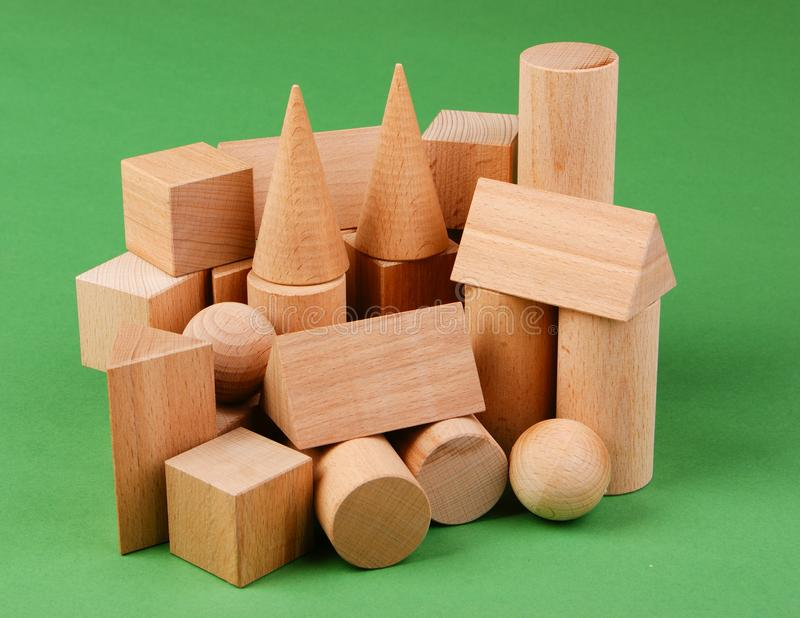 Wooden geometric shapes stock photography