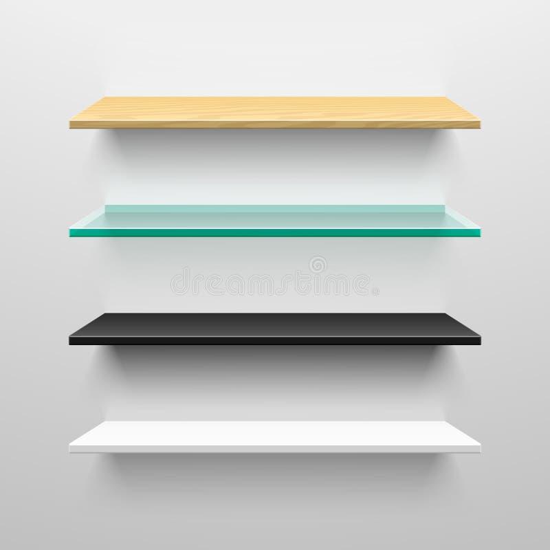 Wooden, glass, black and white shelves. Ill stock illustration