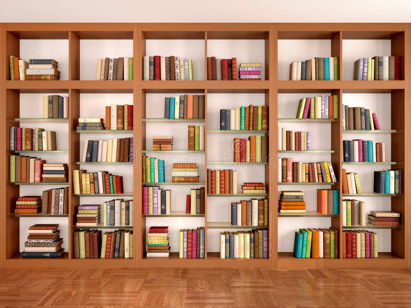 Wooden and glass shelves with different books. vector illustration