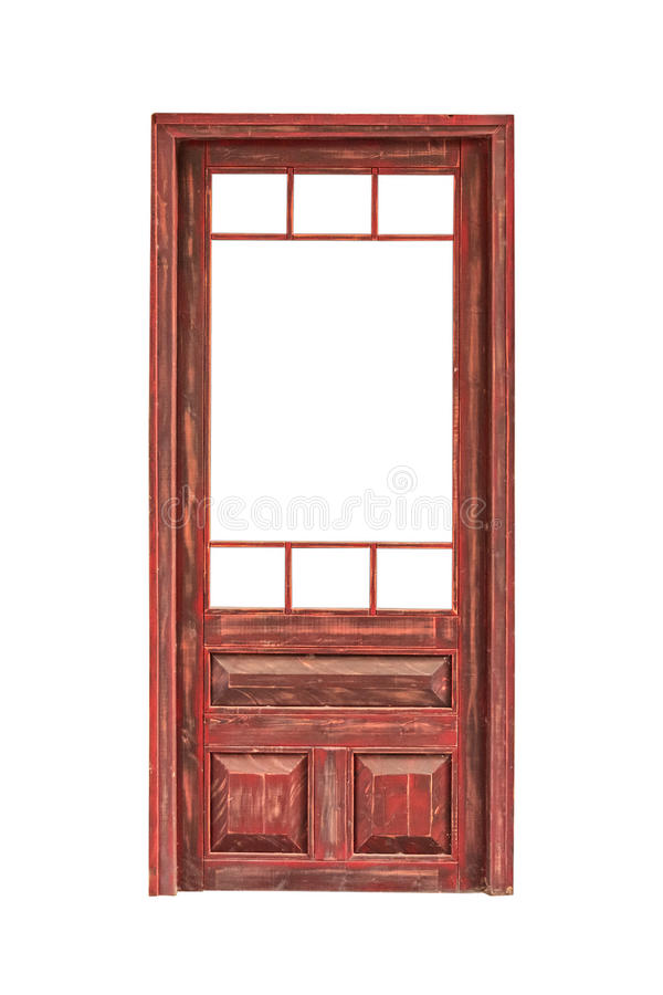 Wooden glazed door without glass isolated on white background stock images