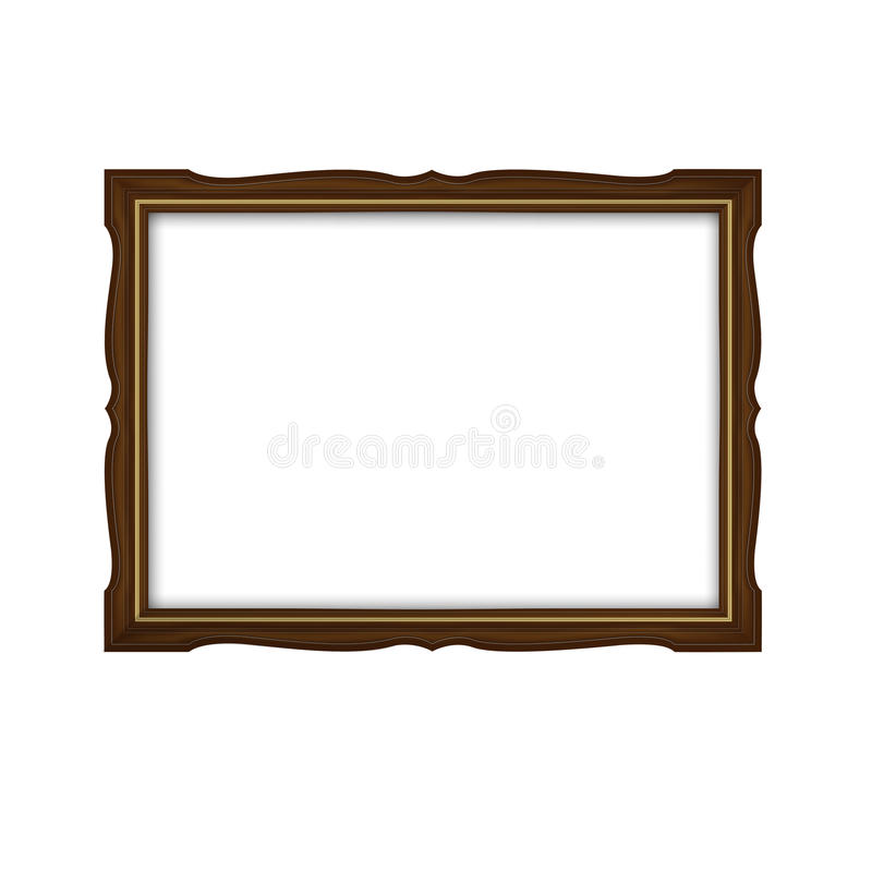 Wooden and gold frame vector illustration