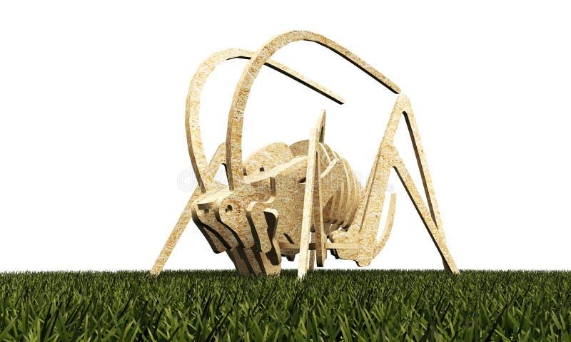 Wooden grasshopper. On green grass isolated on white background vector illustration
