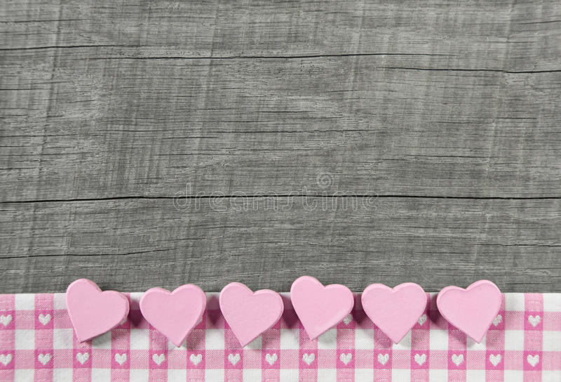 Download Wooden Grey Shabby Chic Background With Pink Hearts On A White R Stock Image