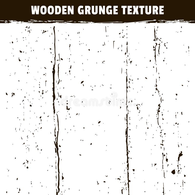 Wooden grunge black texture isolated on white royalty free illustration