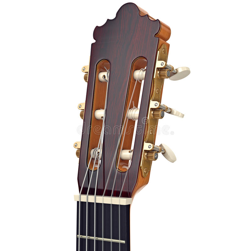 Wooden guitar headstock fingerboard, close view stock illustration