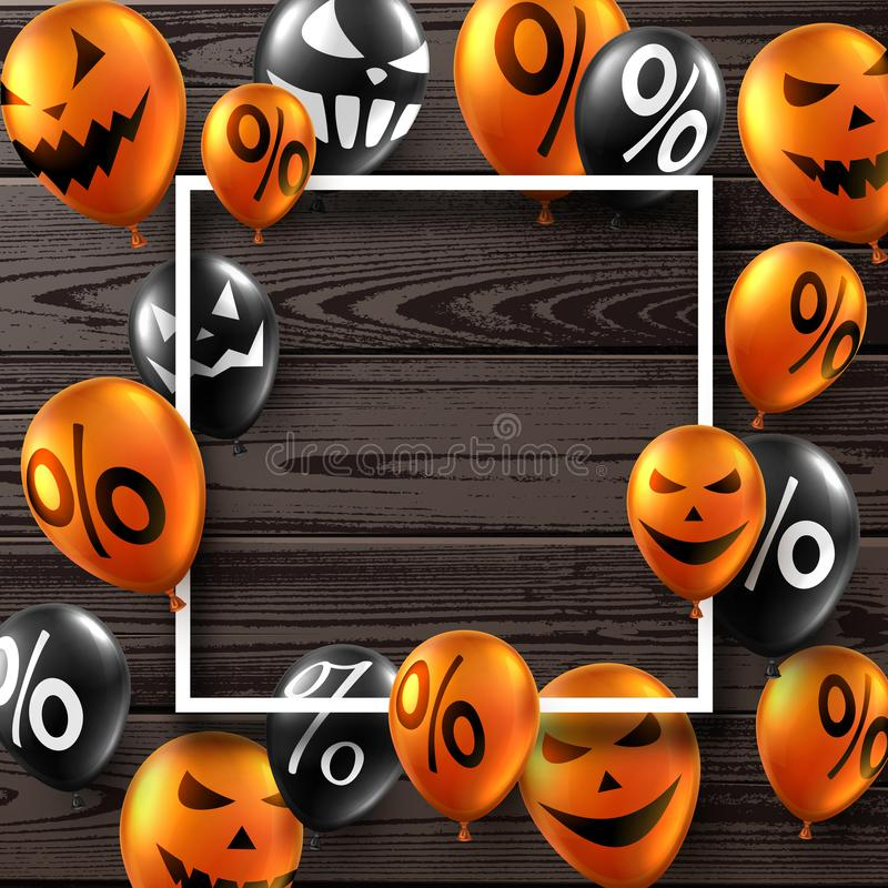 Wooden Halloween card with black and orange balloons. Holiday sa vector illustration