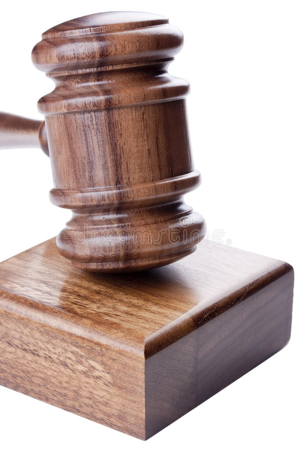 Wooden hammer. Used in court and in auctions stock photo