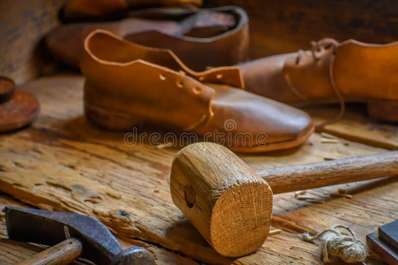 Old Fashioned Shoe Shop Workshop royalty free stock photo