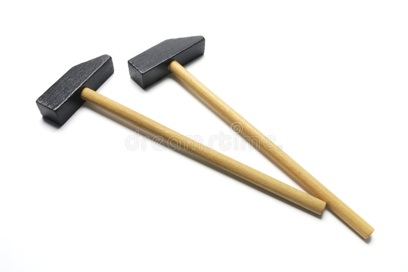 Wooden Hammers Stock Image