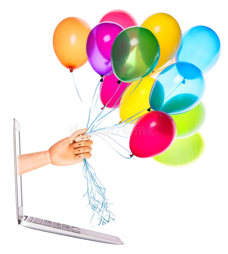 Download Wooden Hand With Balloons And Laptop Stock Image - Image: 40351035