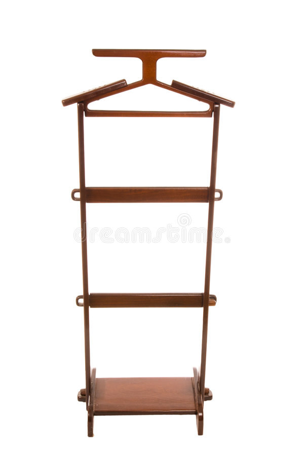 Wooden hanger isolated on a white royalty free stock photo
