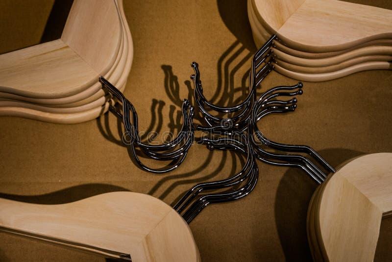 Wooden hangers, coat hanger royalty free stock image