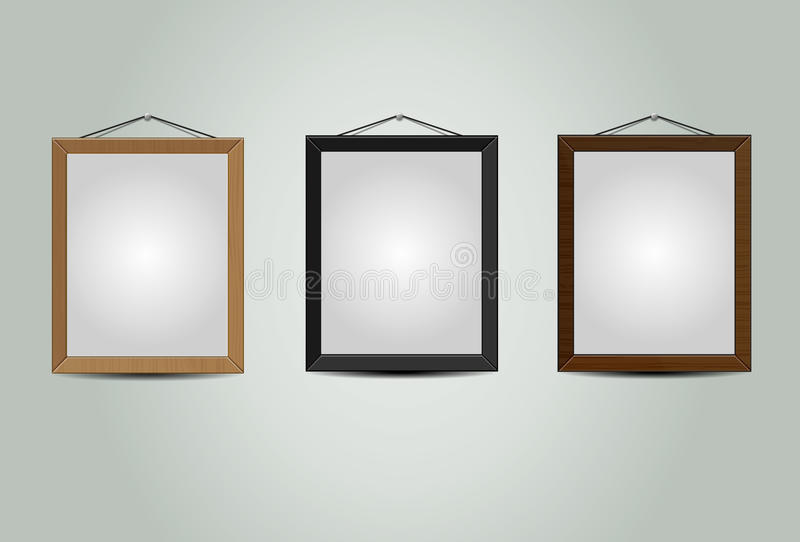 Wooden hanging frames stock vector. Illustration of graphic - 33794368