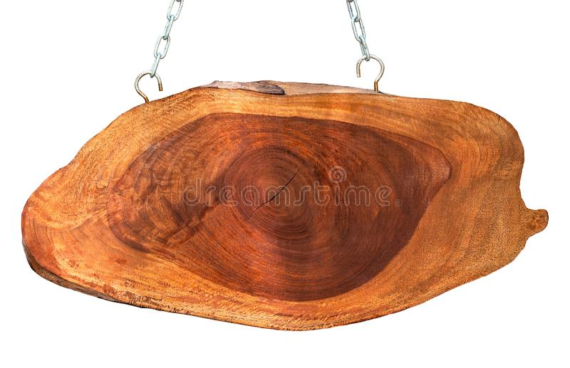 Wooden hanging signboard. And metal chain isolated on white background with clipping path stock image