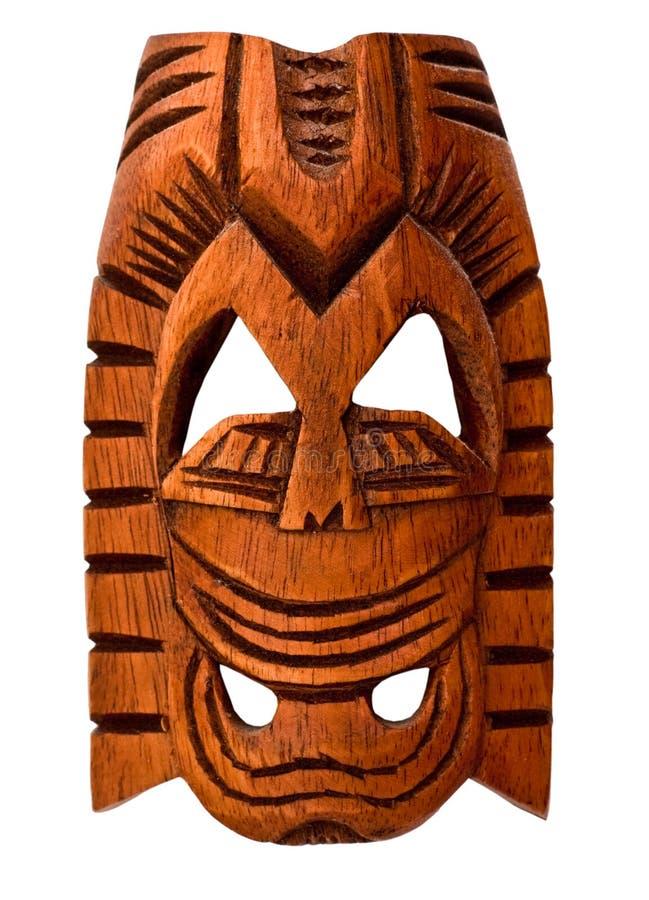 Wooden Hawaiian mask. Of love isolated on white stock photo