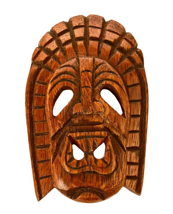 Wooden Hawaiian mask. Of love isolated on white stock photography