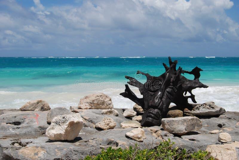 Wooden head sculpture on a tropical beach. Wooden head sculpture on the beach, tulum mexico stock image