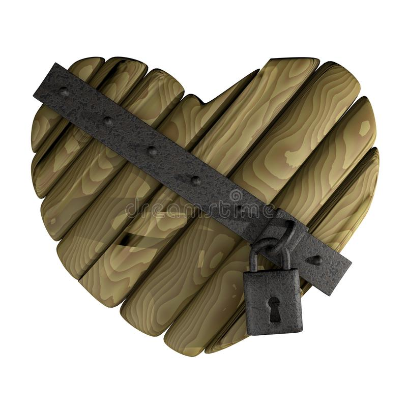 Download Wooden heart stock illustration. Image of padlock, abstract - 21242742