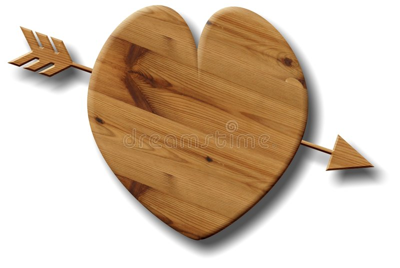 Wooden Heart royalty free illustration