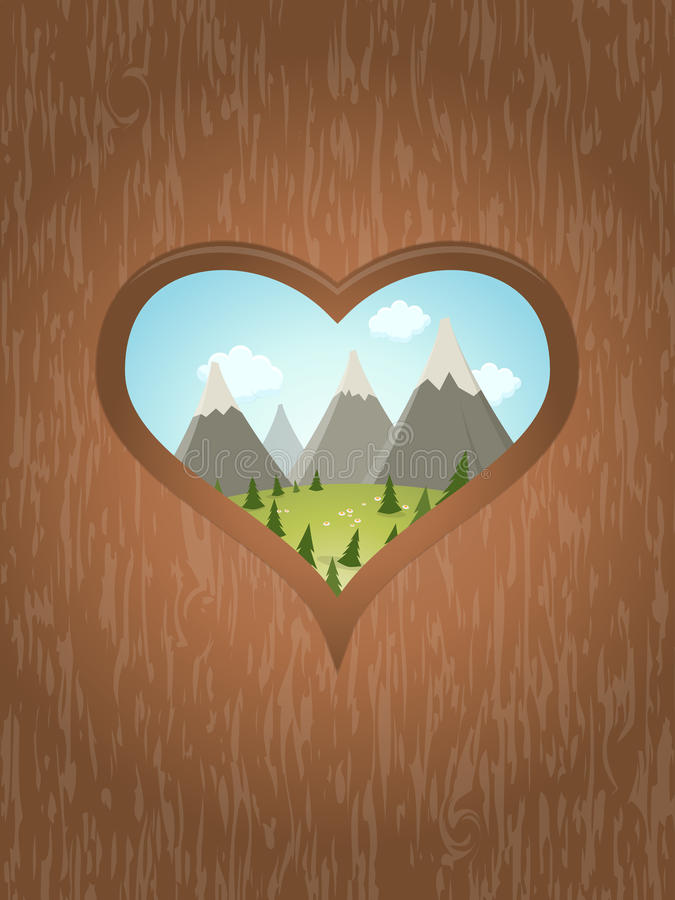 Wooden heart with idyllic view outside. Illustration of a wooden heart with idyllic view outside royalty free illustration