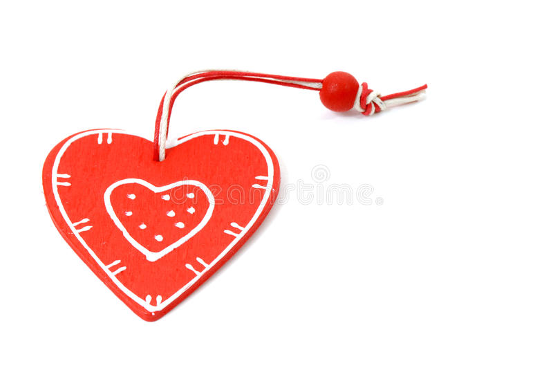 Wooden heart red royalty free stock image