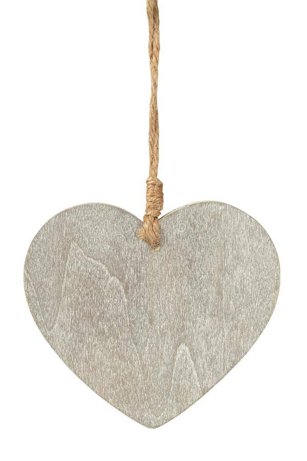 Wooden heart on white royalty free stock photography