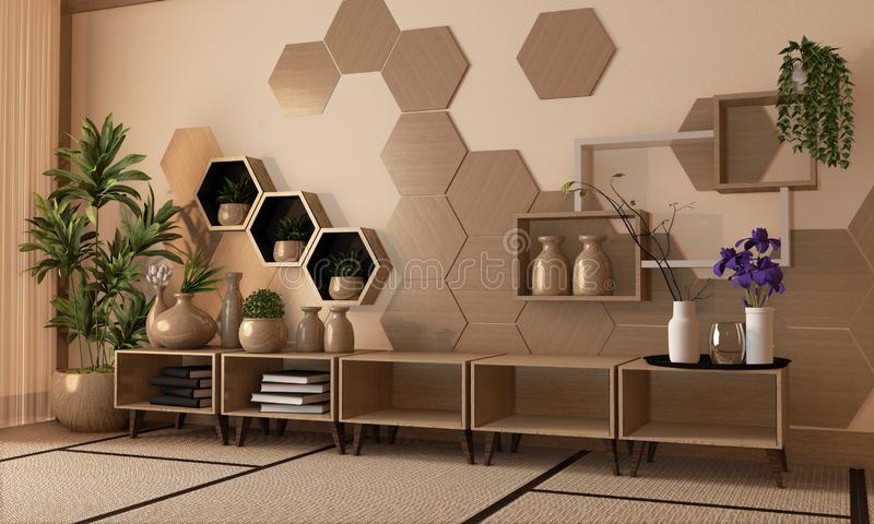 Interior wooden hexagon shelf and tiles on wall and wooden cabinet and wooden vase decoration on tatami mat floor.3D rendering royalty free stock photos