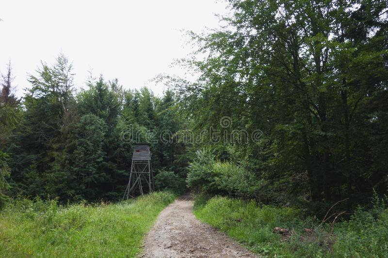 Wooden hide or cabin next to a path in forest. Beskydy mountains, Czech republic royalty free stock photo