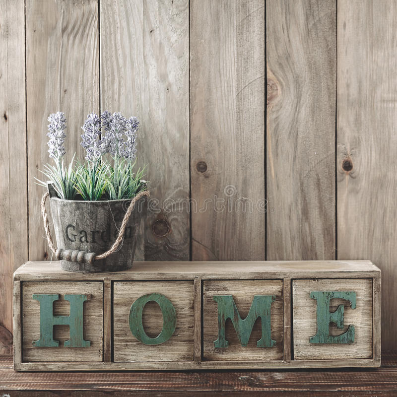 Wooden home decor stock images