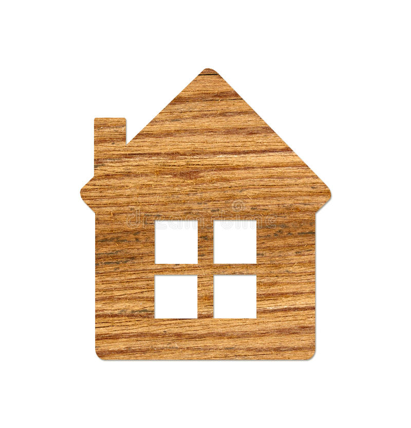 Wooden home icon from grass background, isolated on white. Background stock photography