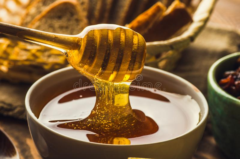 Wooden honey dripper spoon close up with stretching honey. Macro shot royalty free stock photos
