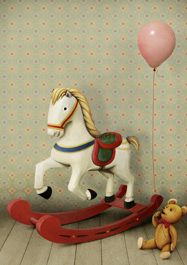 Free Wooden Horse And Teddy Bear Stock Photos - 42714043