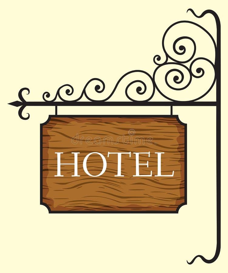 Wooden hotel door sign. Vector illustration of the Wooden hotel door sign royalty free illustration