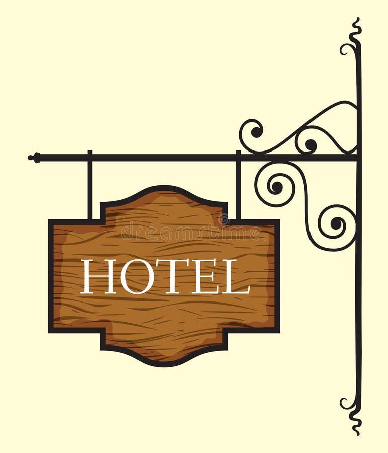 Wooden hotel door sign. Vector illustration of Wooden hotel door sign royalty free illustration