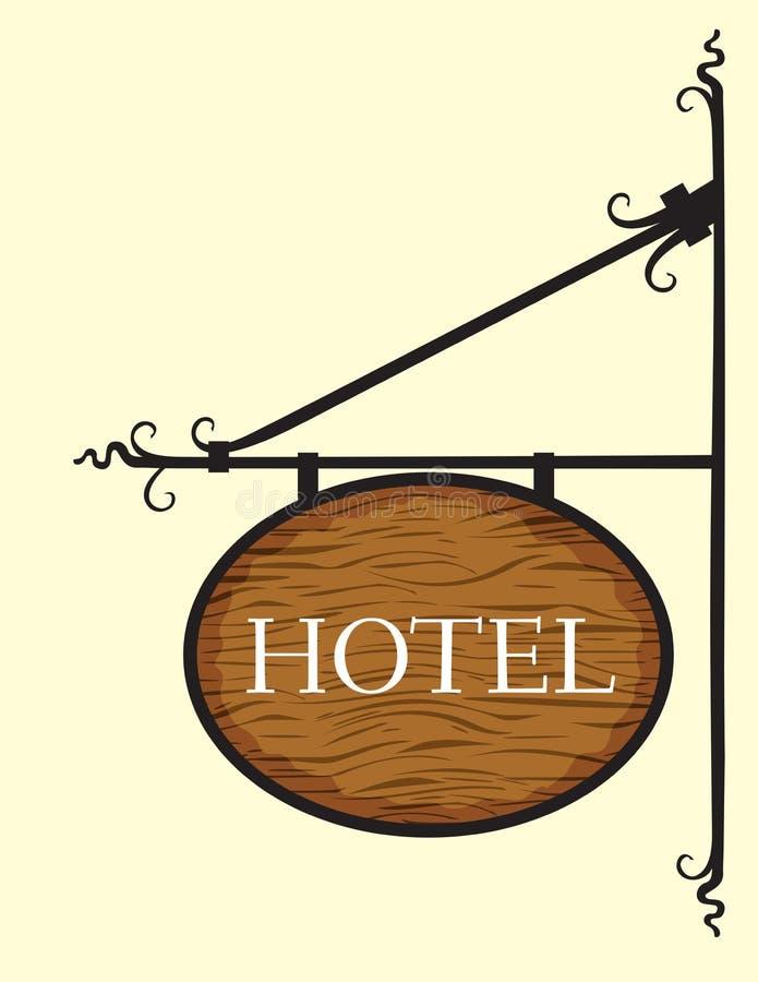 Wooden hotel door sign. Vector illustration of Wooden hotel door sign vector illustration