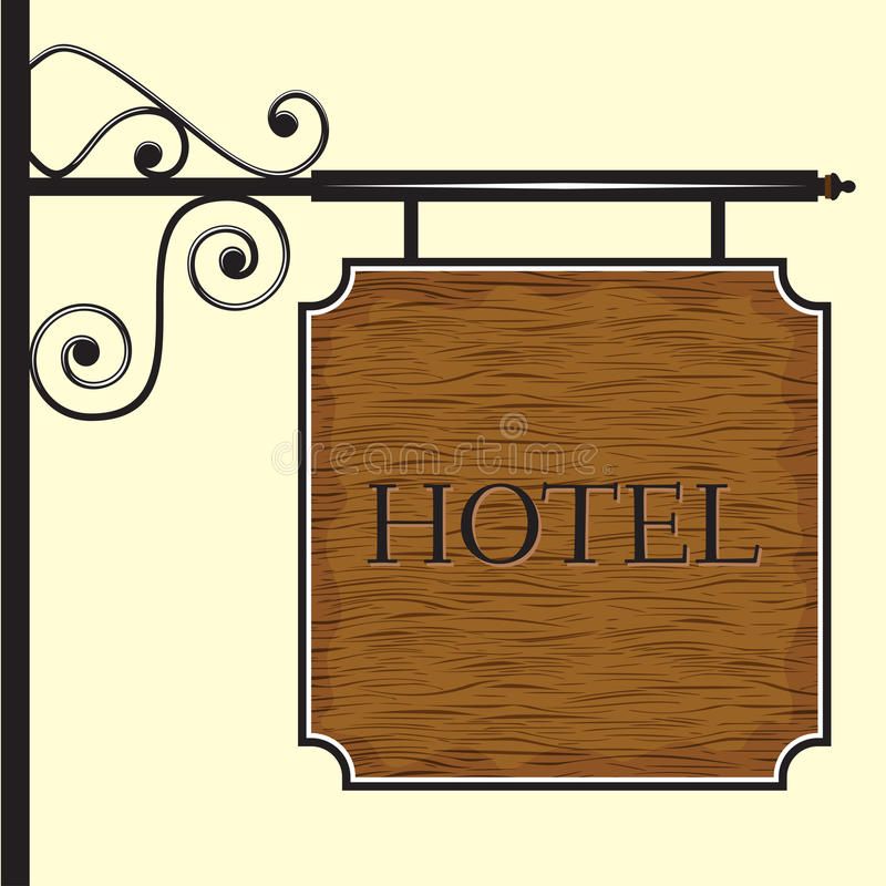 Wooden hotel door sign. Vector illustration of Wooden hotel door sign stock illustration