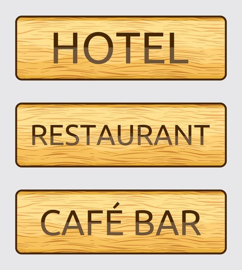 Wooden hotel door sign. Vector illustrations of the Wooden hotel door sign vector illustration