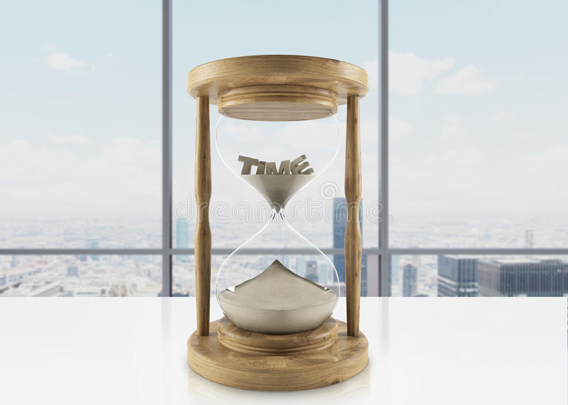 Wooden hour glass royalty free illustration