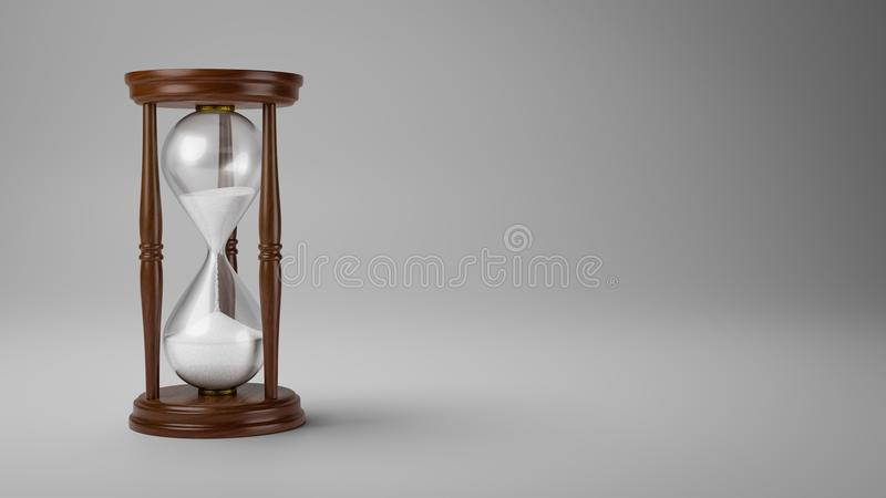 Wooden Hourglass on Gray Background stock illustration