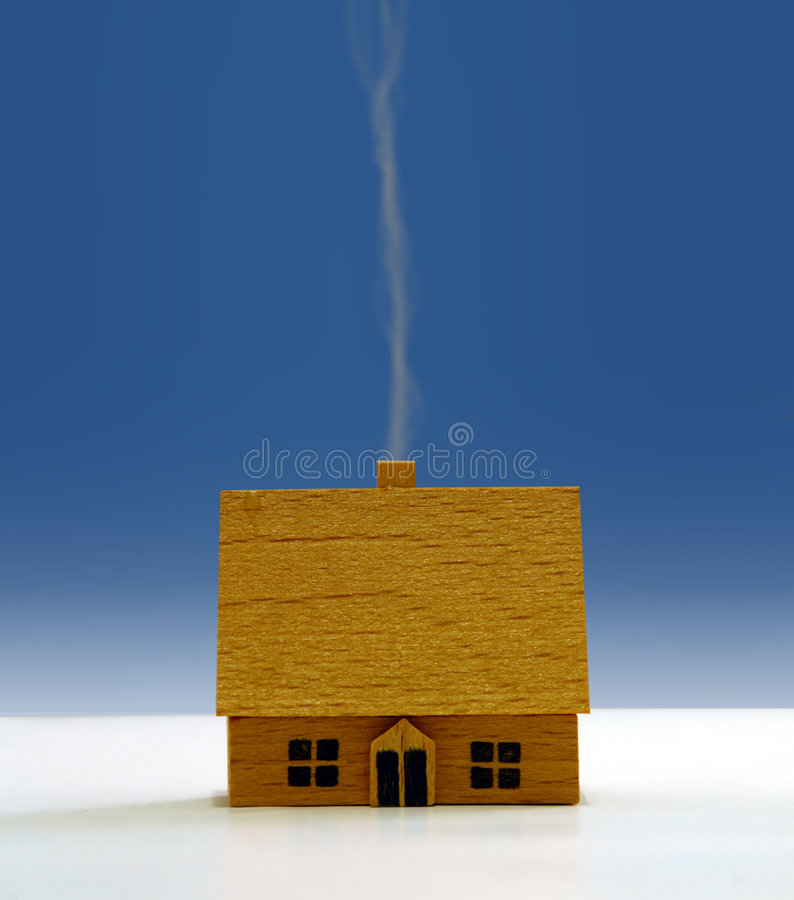 Wooden House. A wooden house with a smoking chimney vector illustration
